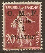 French Military Occ. 1921 1p on 20c Brown-lake. SG72.