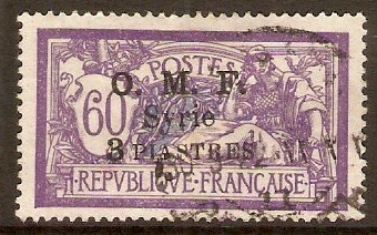 French Military Occ. 1921 3p on 60c Violet and blue. SG74.
