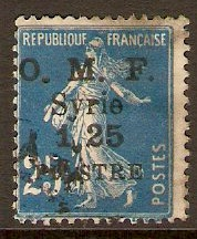 French Military Occ. 1922 1,25p on 25c Blue. SG96b.