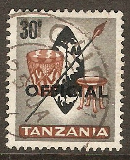 Tanzania 1965 30c Black and brown - Official stamp. SGO13.