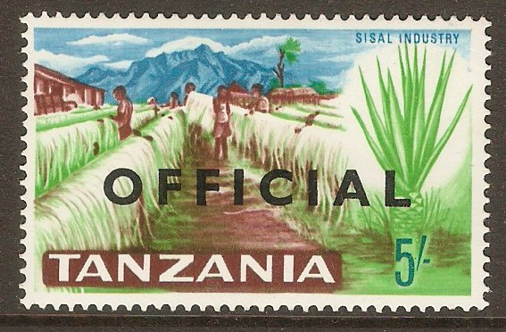 Tanzania 1965 5s Brown, green and blue - Official stamp. SGO16.