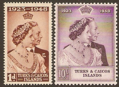 Turks and Caicos 1948 Silver Wedding Set. SG208-SG209.