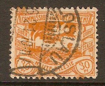 Upper Silesia 1920 30pf Yellow. SG26.