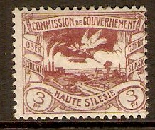 Upper Silesia 1920 3pf Purple. SG20.