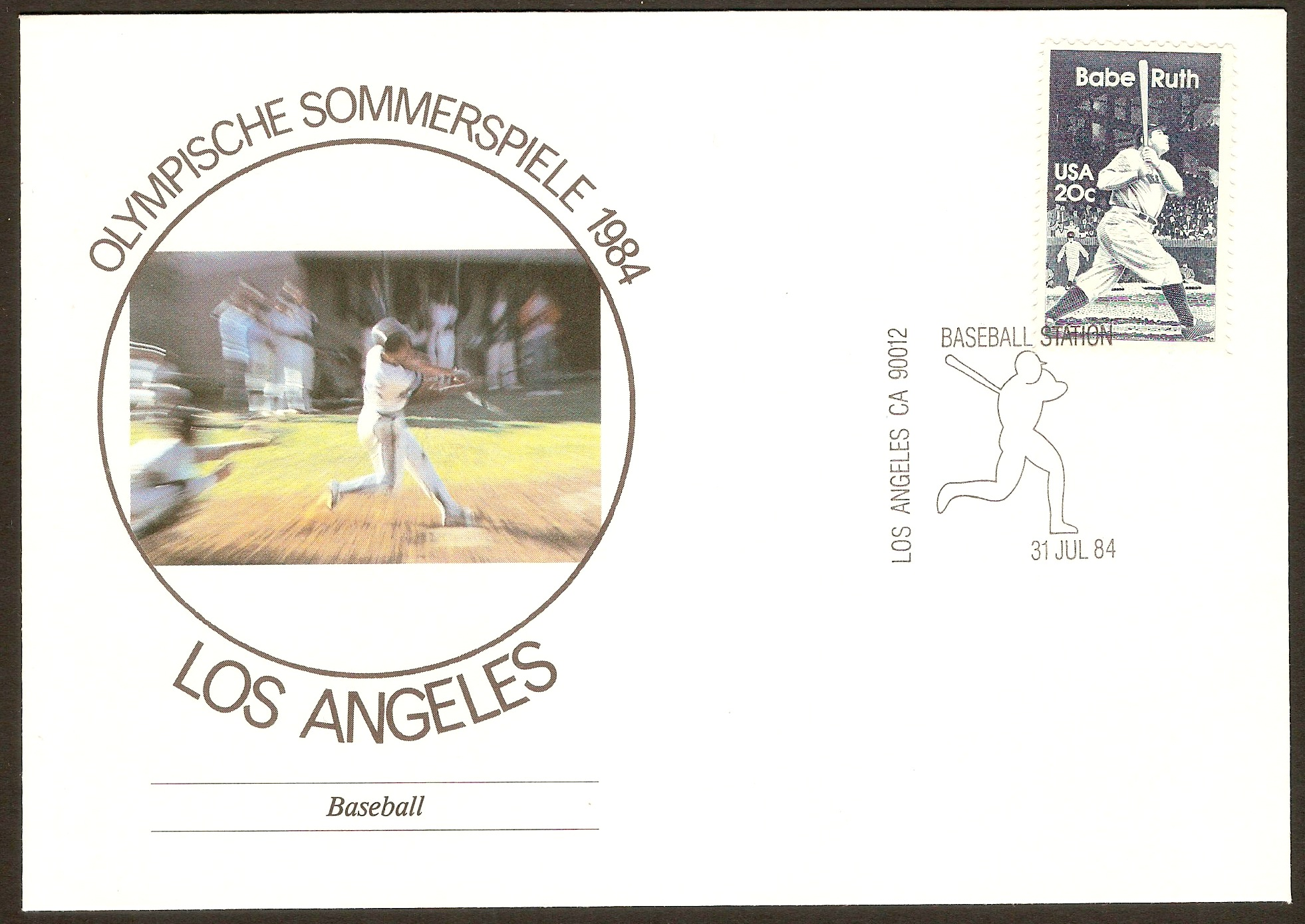 United States 1983 Los Angeles Olympics Souvenir Cover.