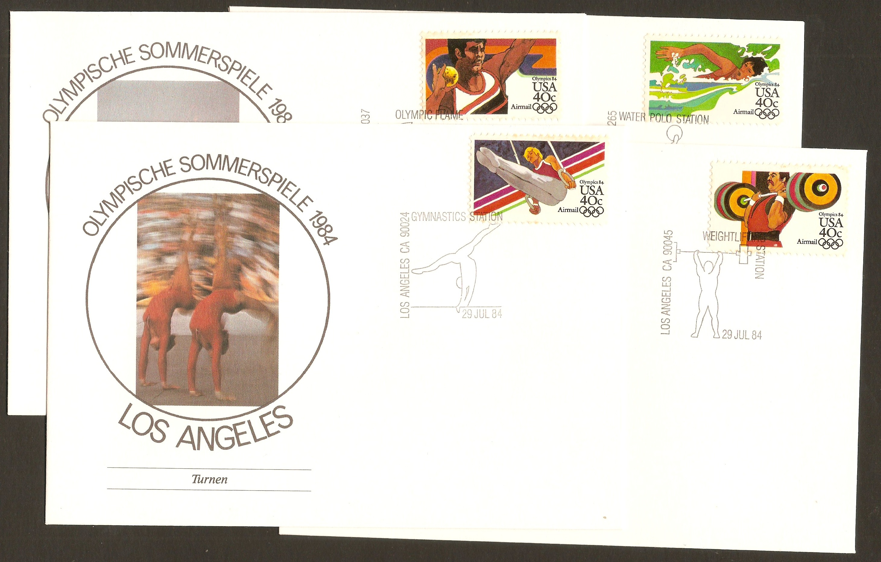 United States 1983 Los Angeles Olympics Souvenir Covers.