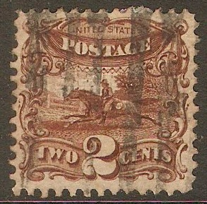 United States 1869 2c Deep brown - Post Rider. SG115.