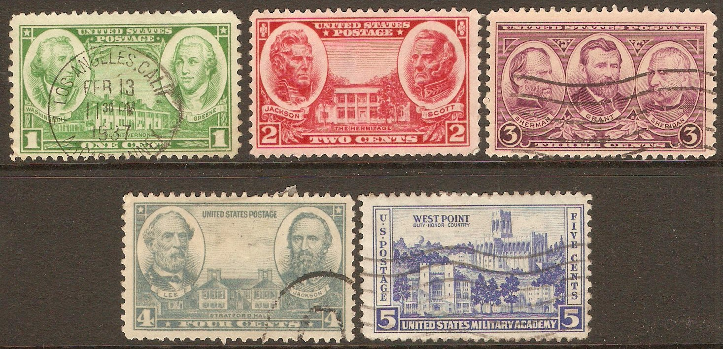 United States 1936 Army series. SG781-SG785.