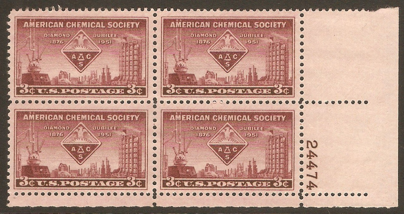 United States 1951 3c Chemical Society Anniversary. SG999.