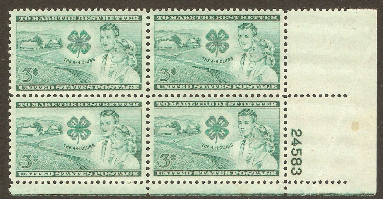 United States 1952 3c 4-H Clubs Anniversary. SG1002.