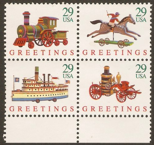 United States 1992 Greetings Stamps Set. SG2758a.