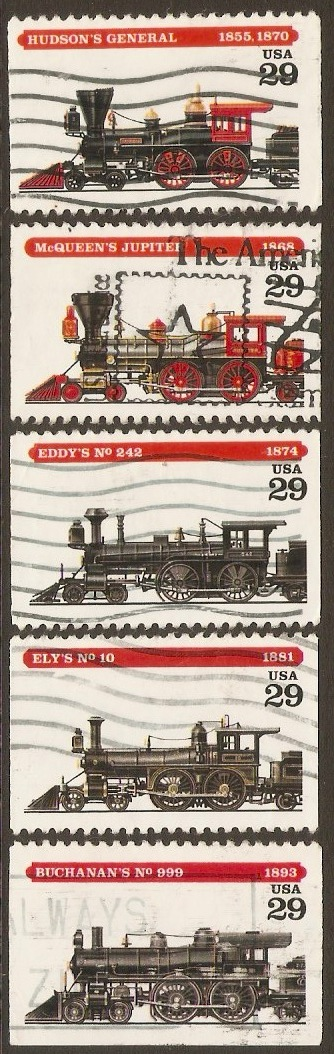 United States 1994 Railway Locomotives Set. SG2923-SG2927.