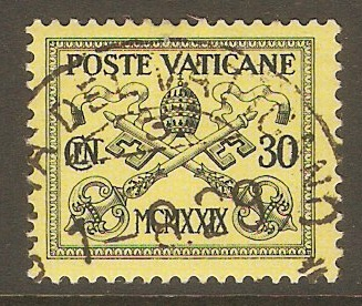 Vatican City 1929 30c Black on yellow. SG5.