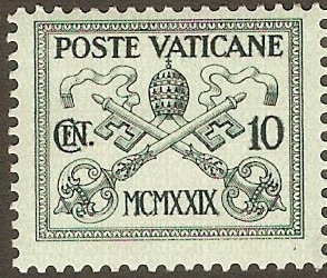 Vatican City 1929 10c Grey-green on green. SG2