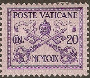 Vatican City 1929 20c Violet on lilac. SG3.