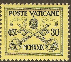 Vatican City 1929 30c Black on yellow. SG5