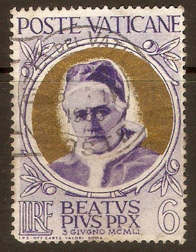 Vatican City 1951 6l Pope Pius X Beatification series. SG164.