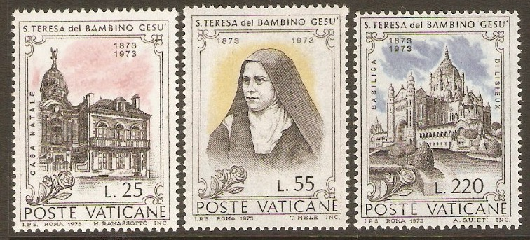 Vatican City 1973 St. Theresa of Lisieux set. SG594-SG596.