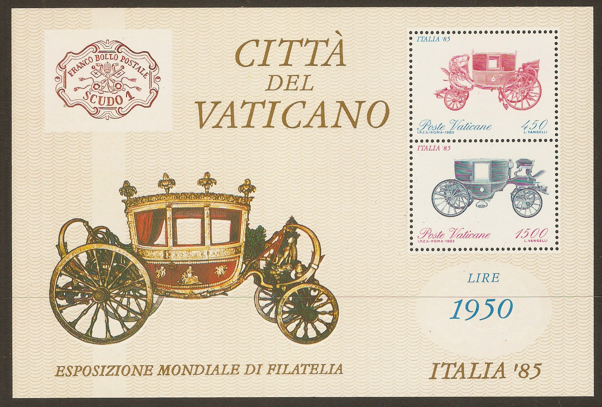 Vatican City 1985 Italia '85 sheet. SGMS845.