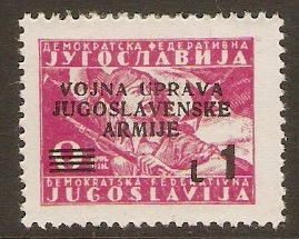 Yugoslavia Incorporation 1947 1l on 9d Pink. SG102.