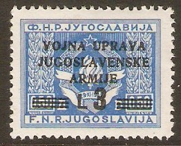 Yugoslavia Incorporation 1947 3l on 0.50d Blue. SG105.