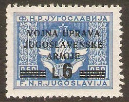 Yugoslavia Incorporation 1947 6l on 0.50d Blue. SG107.