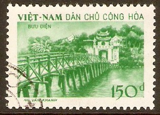North Vietnam 1958 150d Green - Temple of Jade Stamp. SGN97.