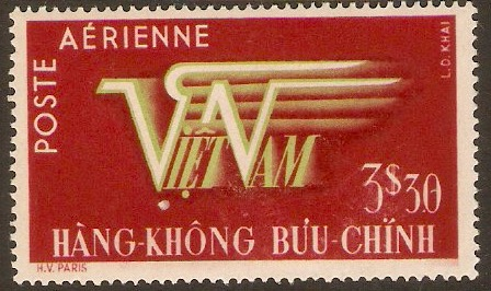 Vietnam 1952 3p.30 Green and lake - Air series. SG74.