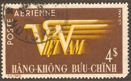 Vietnam 1952 4p Yellow and brown - Air series. SG75.