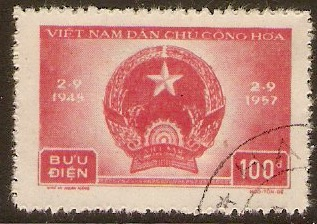 North Vietnam 1957 100d Red - Democratic Anniv. series. SGN70.