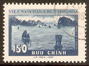 North Vietnam 1958 150d Blue - Bay of Halong stamp. SGN98.