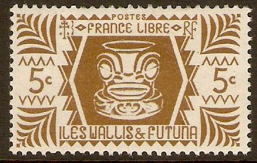 Wallis and Futuna 1944 5c Olive-brown. SG126.