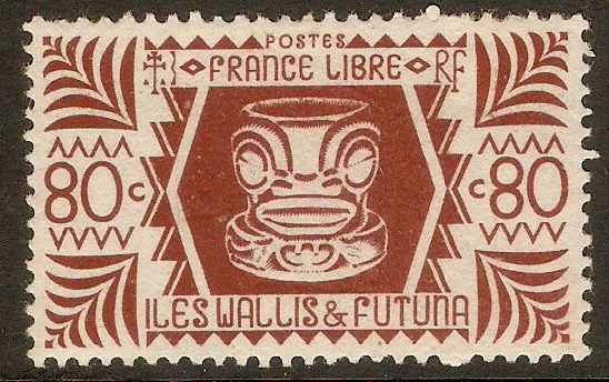 Wallis and Futuna 1944 80c Maroon. SG131.