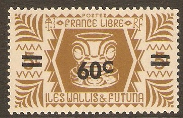 Wallis and Futuna 1945 60c on 5c Olive-brown. SG142.