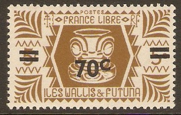 Wallis and Futuna 1945 70c on 5c Olive-brown. SG143.