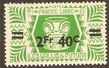 Wallis and Futuna 1945 2f.40 on 25c Emerald-green. SG145.