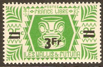 Wallis and Futuna 1945 3f on 25c Emerald-green. SG146.