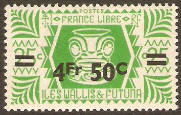 Wallis and Futuna 1945 4f.50 on 25c Emerald-green. SG147.
