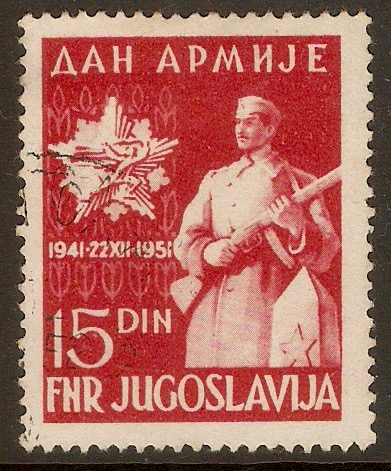 Yugoslavia 1951 15d Army Day series. SG725.