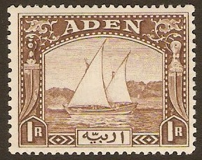 Aden 1937 1r Brown. SG9.