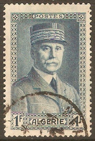 Algeria 1941 1f Blue - Marshall Petain. SG174.