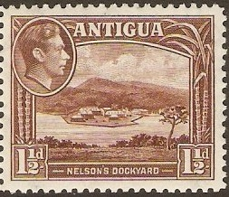 Antigua 1938 1½d Dull reddish brown. SG100a.