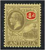 Antigua 1921 4d. Grey-Black and Red on Pale Yellow Paper. SG56.