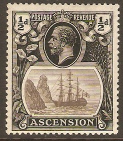 Ascension 1924 ½d Black. SG10.