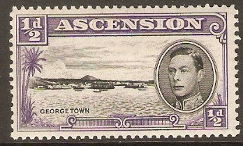 Ascension 1938 ½d Black and bluish violet. SG38b.
