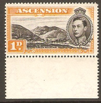 Ascension 1938 1d Black and yellow-orange. SG39c.
