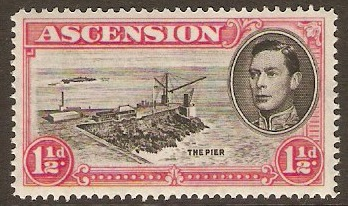 Ascension 1938 1½d Black and rose-carmine. SG40d.