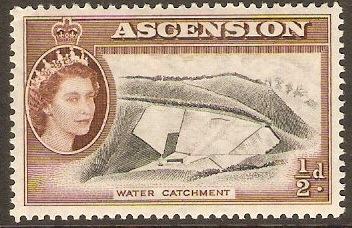 Ascension 1956 ½d Black and brown. SG57.