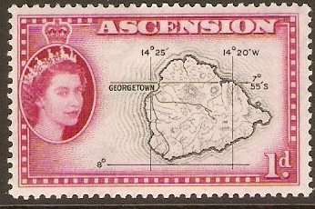 Ascension 1956 1d Black and magenta. SG58.