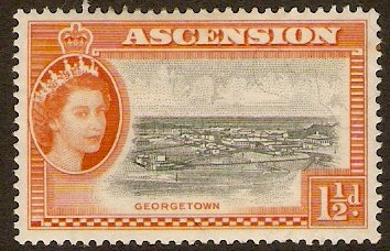Ascension 1956 1½d Black and orange. SG59.